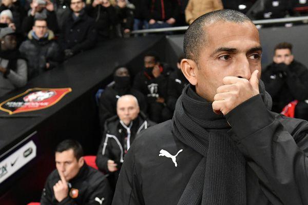 L'entraîneur de Rennes Sabri Lamouchi pendant le match Stade rennais - PSG