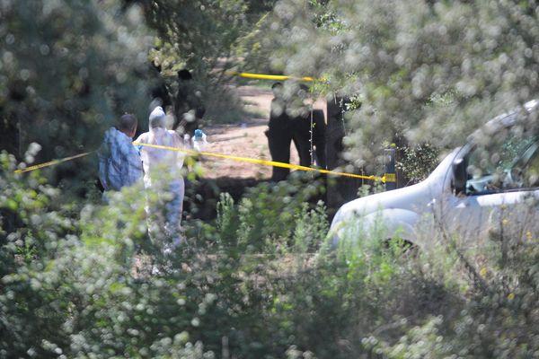 Nîmes - la police sur les lieux du drame où le coprs carbonisé de Badre Fakir a été retrouvé - septembre 2015.