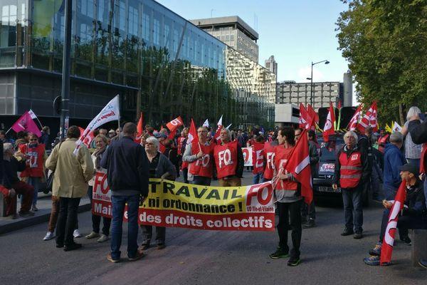 Le cortège de la manifestation contre la loi travail à Rennes
