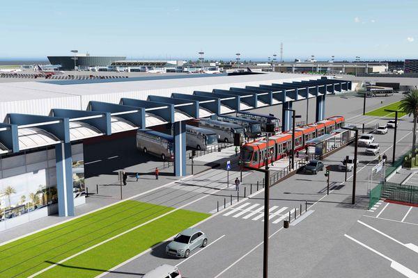 Visuel du futur arrêt de l'aéroport de Nice.