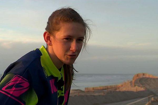 Camille Frammery, 18 ans, participe pour la première fois à l'Enduropale du Touquet.