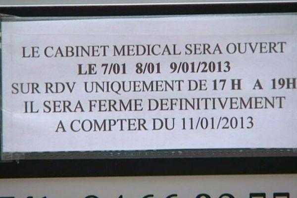 Sauveterre (Gard) - le médecin est parti sans prévenir personne - 15 janvier 2013.