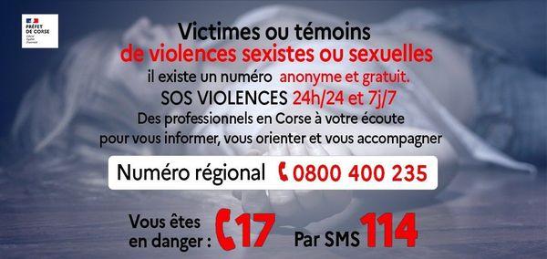 Les numéros régionaux à contacter pour les victimes ou témoins de violences sexistes ou sexuelles.