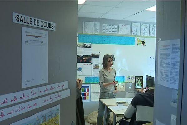 Un cours adapté au centre éducatif fermé de Narbonne (Aude) en novembre 2019