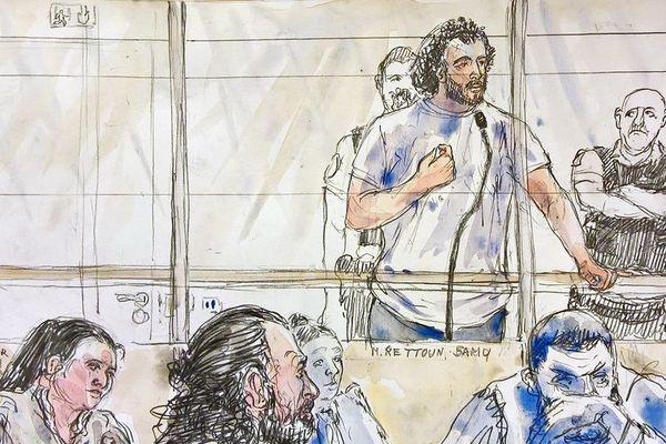 Croquis d'audience. Samy Rettoun, sa femme Sana et son père Farid sont jugés pour association de malfaiteurs à visée terroriste.