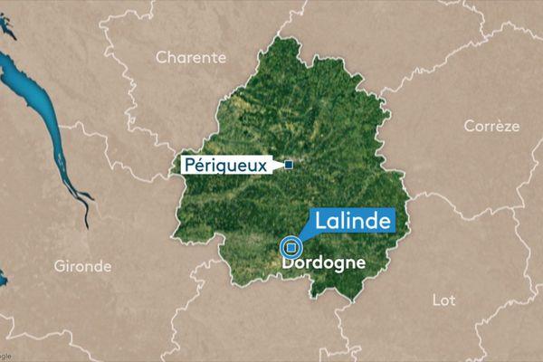 Carte de Lalinde, d'où sont issus les chiens décédés.
