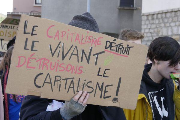 Lors de la 4eme grève mondiale pour le climat, vendredi 29 novembre, une bonne centaine de jeunes lozèriens ont défilé à Mende pour dénoncer les conséquences du système capitaliste et appeler à un changement radical.