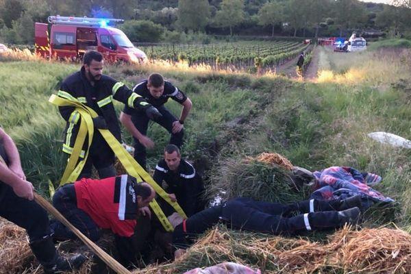 Les pompiers ont bataillé  ferme pour sauver le cheval coincé dans un réservoir à Hérépian près de Béziers