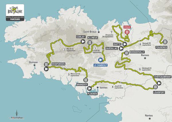 7 étapes qui mèneront le peloton de Le Cambout à Dinan sur 1194 kilomètres