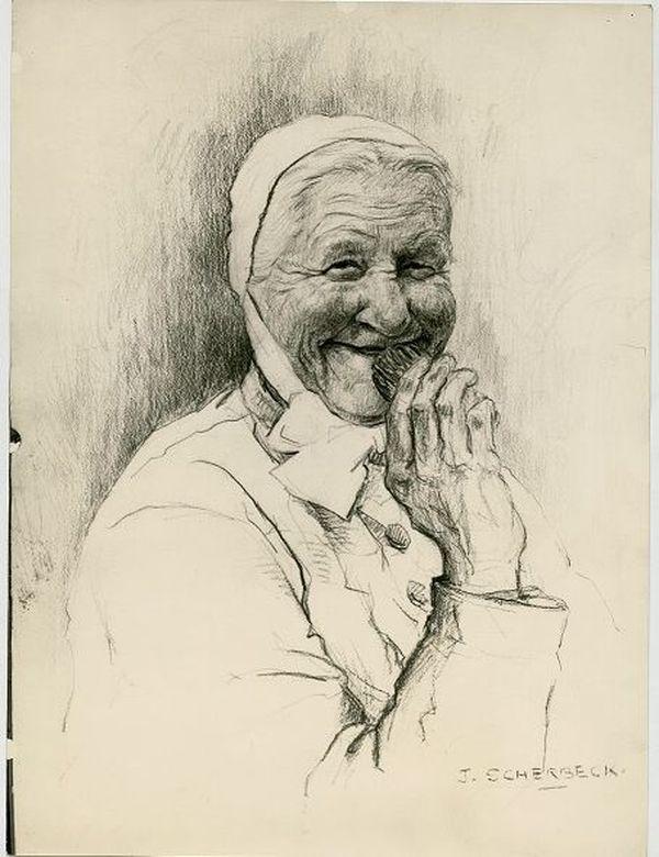 La grand-mère malicieuse des madeleines de Liverdun dessinée dans les années 1920.