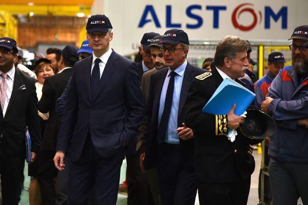 Visite du ministre de l'économie et des finances, dans l'une des entreprises d'Alstom France en septembre 2017.