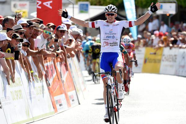 Arnaud Démare (Groupama-FDJ) vainqueur de la 2e étape du TPC à Melle (Deux-Sèvres)