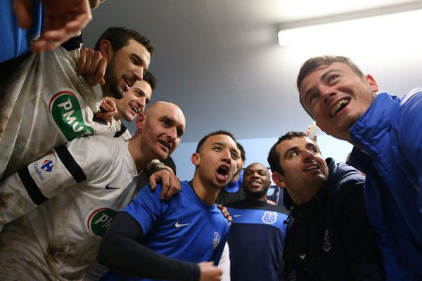 La joie des joueurs de Granville après la qualification pour les quarts de finales de la Coupe de France.