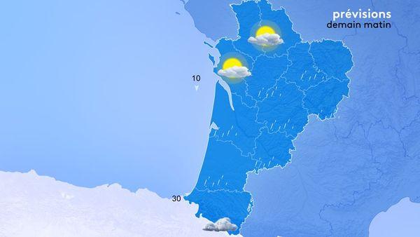 De faibles pluies gagneront la région en fin de nuit par le Poitou Charente et glisseront vers le sud en cours de matinée.