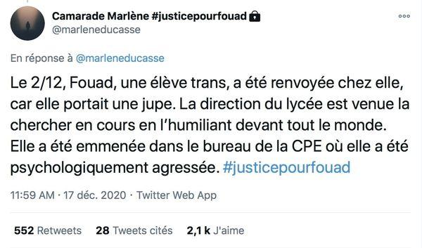 Capture d'écran d'un tweet issu d'un thread expliquant la convocation de Fouad par la direction pour avoir porté une jupe.