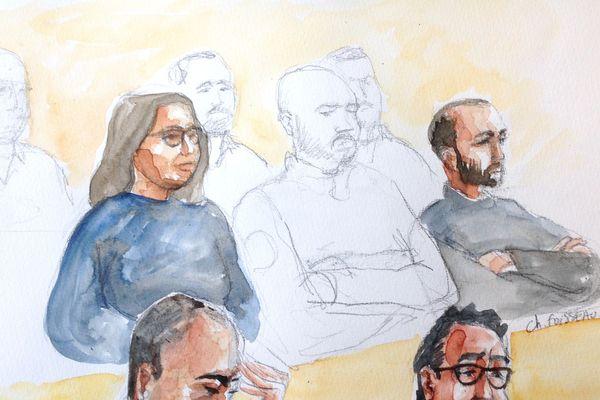 Touria Rafjaoui et Jean-François Ornano dans le box des accusés. Devant eux, dans l'ordre, maître Cabioch et maître Ifrah, les avocats de Touria Rafjaoui.