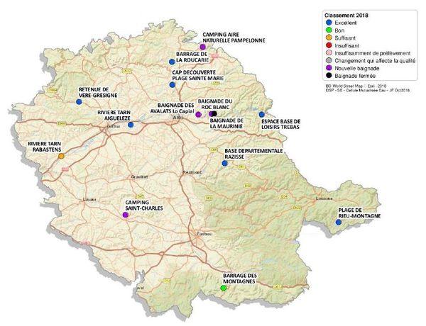 Carte de la qualité des eaux de baignade en eau douce dans le Tarn.