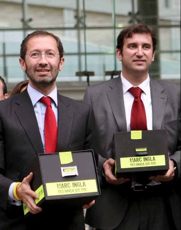 Marc Ingla (à gauche) et Ferran Soriano (à droite) lors des élections à la présidence du Barça en 2010.