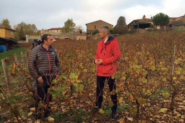 Laurent Wauquiez aux côtés de Frédéric Bonnepart (Domaine des Perelles) à Theizé - 14/11/16