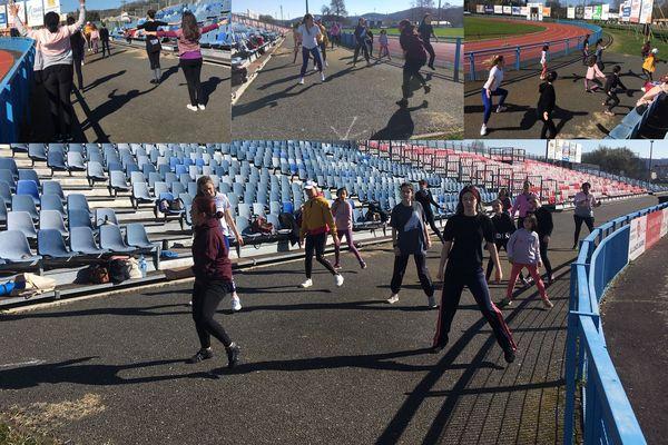 La compagnie de danse de la passerelle à Périgueux a investi les tribunes du stade de rugby de Périgueux