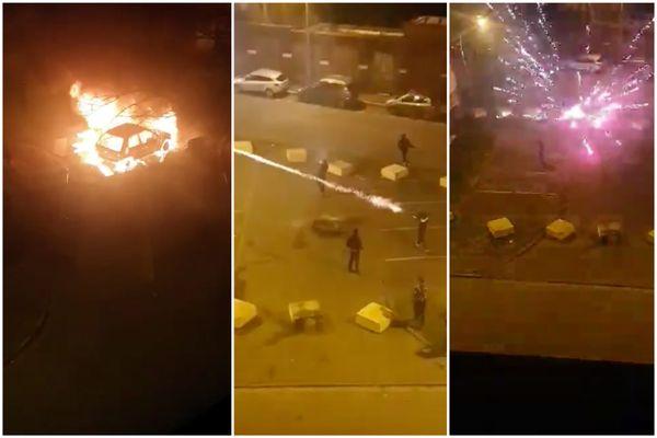 Tirs de mortiers d'artifice et voitures incendiées dans le quartier Croix-Rouge à Tourcoing (Nord), samedi 17 avril 2021.
