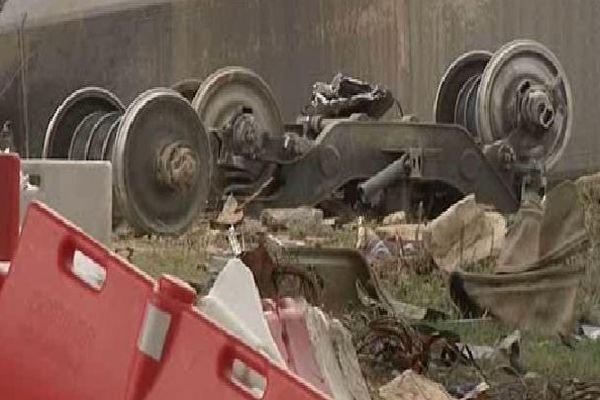Un bogie du TGV qui a déraillé le 14 novembre près d'Eckwersheim