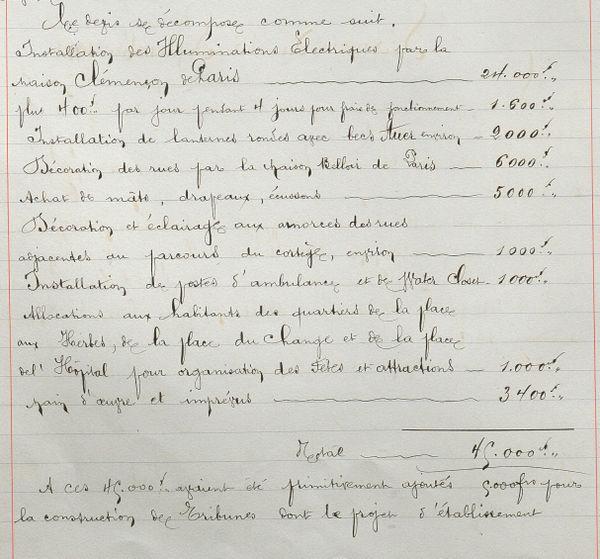 Extrait du registre des délibérations conseil municipal de Compiègne, à propos des dépenses à engager pour la visite du tsar, 16 septembre 1901.