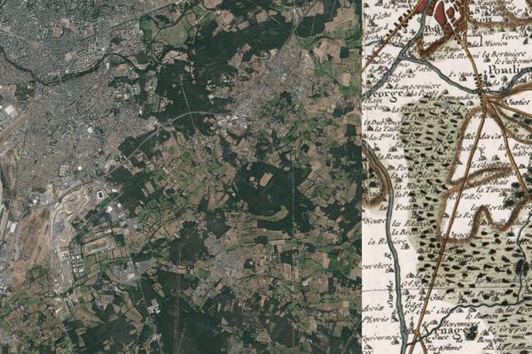 La ville du Mans aujourd'hui et la carte de Cassini (18ème siècle)