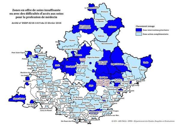 Cartographie des zones en offre de soins insuffisantes éditée par l'Agence régionale de santé Paca.