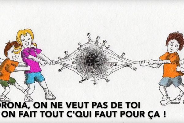 """350 dessins d'enfants franc-comtois composent le clip musical de la """"Chanson du Corona"""""""