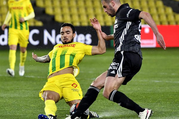 Nantes 18/04/2021 - FOOTBALL LIGUE 1 Nantes- OL -A Lens au stade de la Beaujoire journée de ligue 1 Saison 2020-2021
