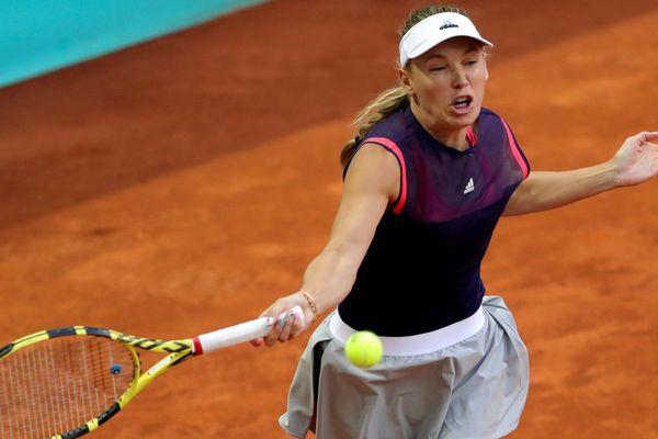 5 mai 2019.  Caroline Wozniacki lors de son match contre la Française Alize Cornet à la Mutua Madrid Open