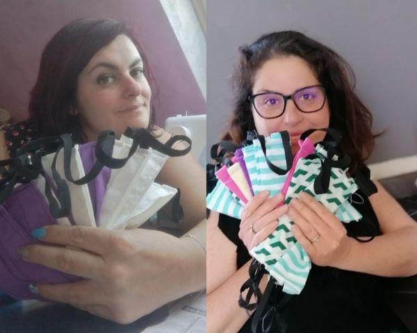 Audrey Baurin et Audrey Metayer, les deux couturières de Manéglise à l'origine du projet masques de protection contre le coronavirus