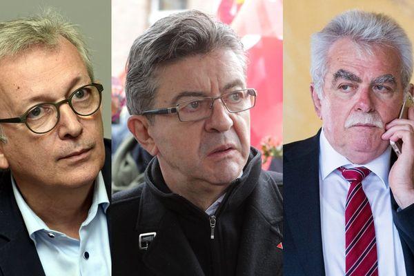 De gauche à droite : Pierre Laurent (PCF), Jean-Luc Mélenchon (Parti de Gauche) et André Chassaigne (PCF)