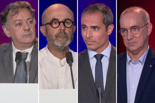 Portraits des candidats pour les départementales 2021 de gauche à droite : Stéphane Cordier, Parti Socialiste / Gérard Leray, EELV / Rémi Martial, Les Républicains et Eric Laqua, Rassemblement National.