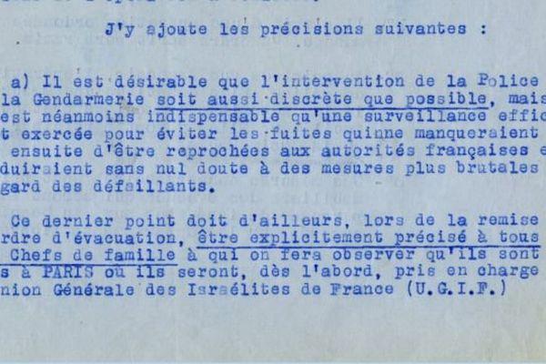 """Extrait de la note du 20 novembre 1943 donnant instruction aux préfet de rafler les """"israélites vivant en Normandie"""