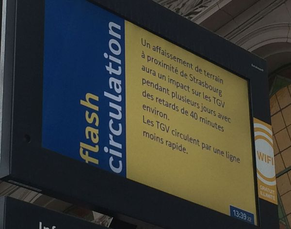 La SNCF annonce des retards de 30 à 40 minutes pour les TGV en direction de Paris, la ligne est moins rapide.