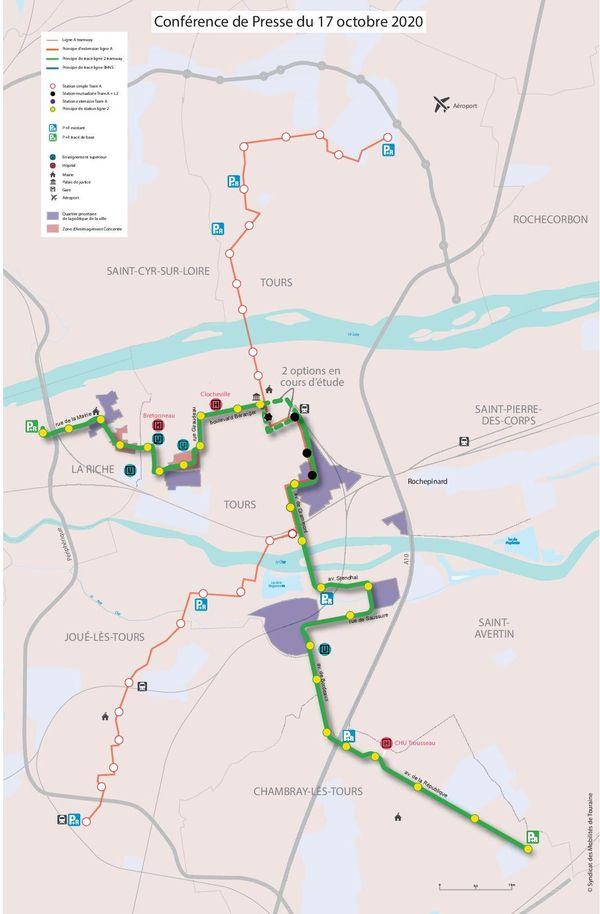 La carte du futur tracé de la ligne B du tram tourangeau.