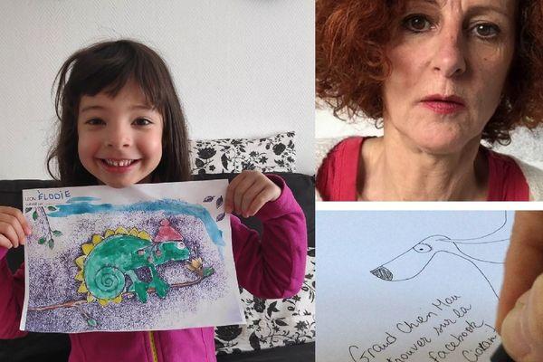 Le dessin de Cécile (l'artiste) est devenu un oeuvre avec le coloriage de