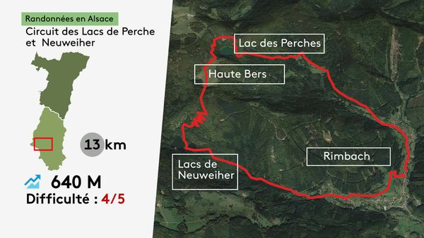 La carte de la randonnée entre les lacs du Neuweiher et des Perches.