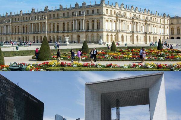 Le château de Versailles, dans les Yvelines, et le quartier de La Défense, dans les Hauts-de-Seine.