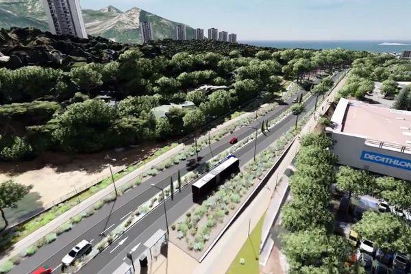 Animation 3d du futur boulevard urbain sud, passage au niveau de la pinède du Roy d'Espagne.