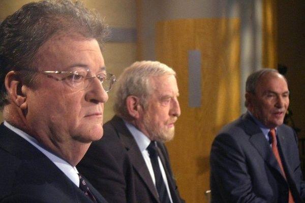 Les trois challengers des élections régionales en mars 2004 sur le plateau de France 3 à Montpellier
