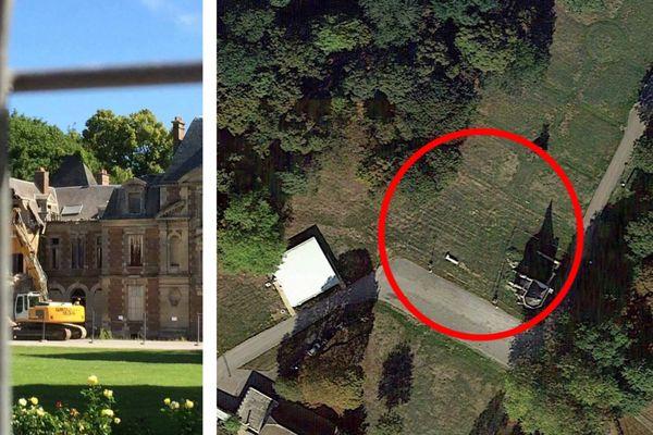 À gauche, la démolition en 2017. À droite, une vue satellite du site en 2020.