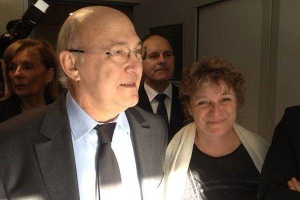 Michel Sapin, ministre du travail, en visite dans l'Aude, un département très touché par le chômage.