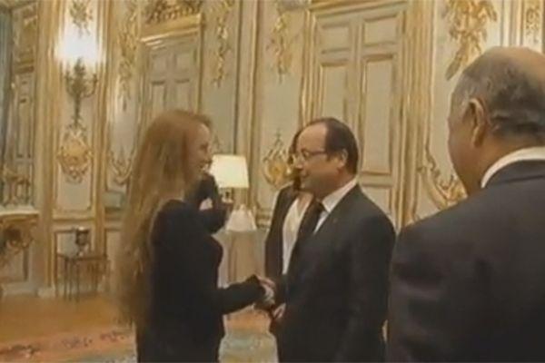 Florence Cassez et François Hollande, ce vendredi soir.