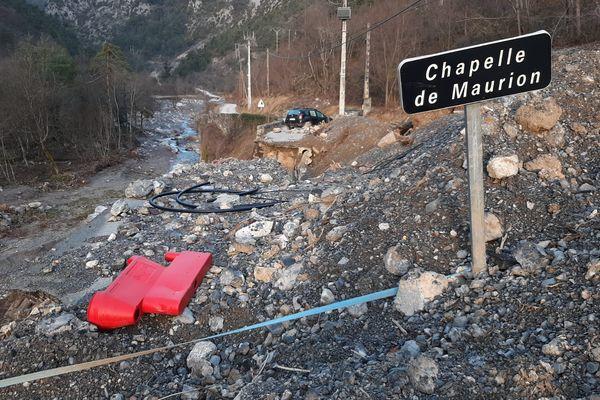 Après la Chapelle de Maurion, dans la Vallée du Caïros (Saorge, Alpes-Maritimes), la tempête Alex a détruit l'axe de communication.