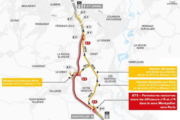 Le 15 avril, la circulation sera déviée sur l'autoroute A75 près de Clermont-Ferrand.