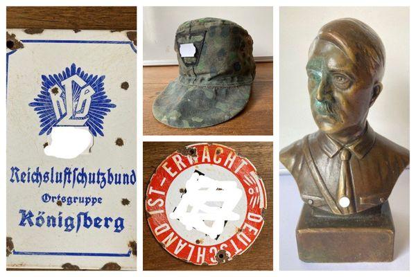 Des plaques ornées de croix gammées et un buste d'Hitler étaient mis en vente à Rodez (Aveyron) avant d'être saisis par la justice.