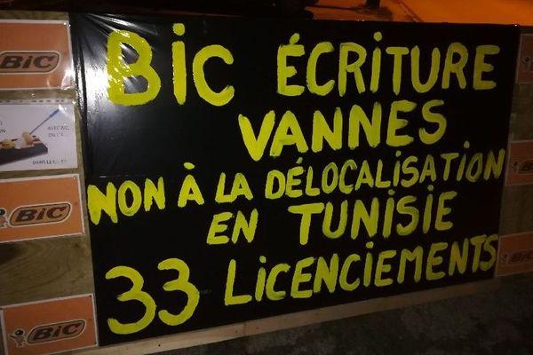 Une des banderoles installée par les grévistes